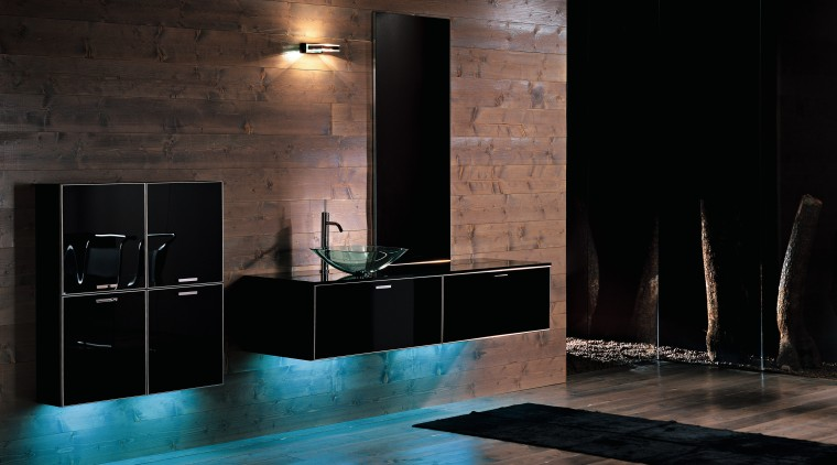 view of the tekne bathroom collection offer by architecture, bathroom, darkness, floor, flooring, interior design, lighting, room, tile, wall, black
