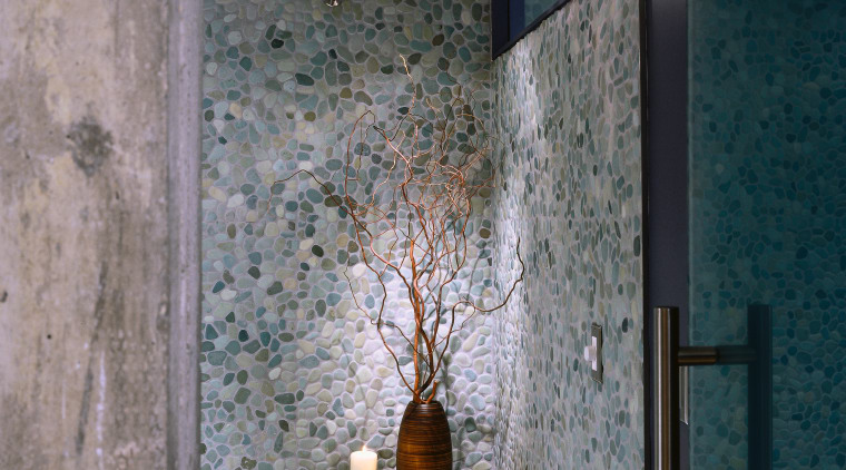 A close up view of the pebbled walls architecture, ceiling, glass, interior design, wall, window, gray, black