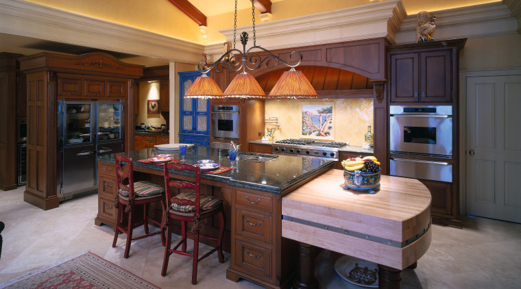 A view of a kitchen, concrete tiled floor, countertop, cuisine classique, flooring, interior design, kitchen, real estate, room, brown, gray