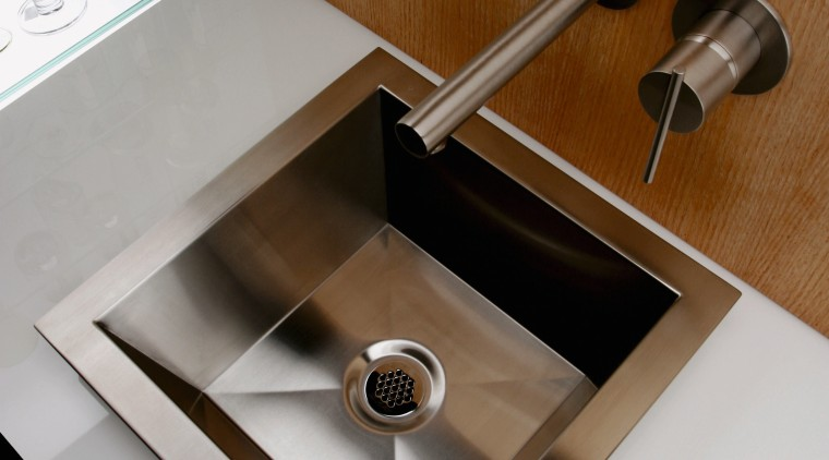 A view of a stainless steel square basinj bathroom sink, ceramic, plumbing fixture, product design, sink, tap, brown, gray