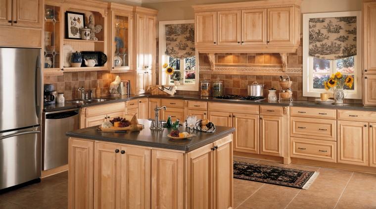 A view of a kitchen, brown tiled floor, cabinetry, countertop, cuisine classique, floor, flooring, hardwood, interior design, kitchen, room, wood flooring, brown, orange