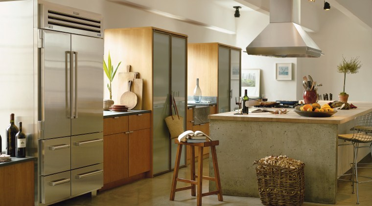 A view of a kitchen, polished concrete floor, cabinetry, countertop, cuisine classique, flooring, interior design, kitchen, room, brown, gray