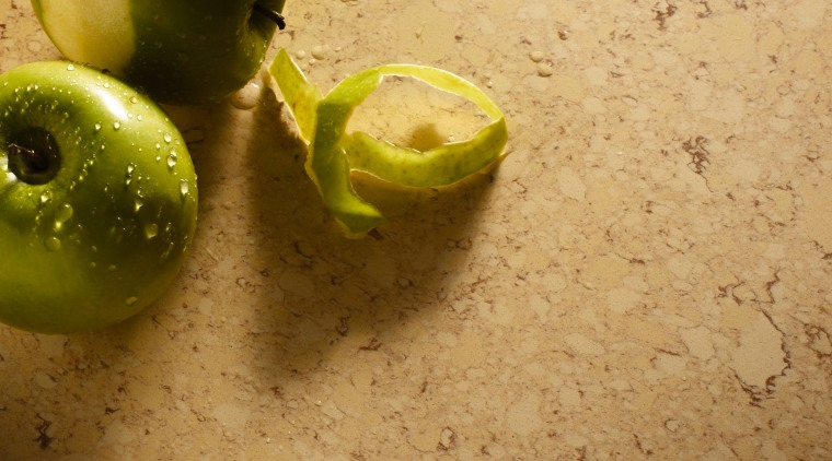 view of the new river series silestone benchtops fruit, lime, produce, still life photography, orange, brown