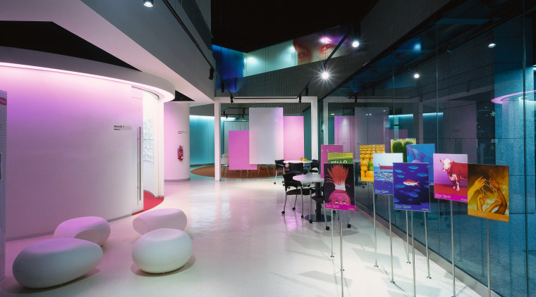 A view of the graphics used through out architecture, ceiling, interior design, lobby, purple, black