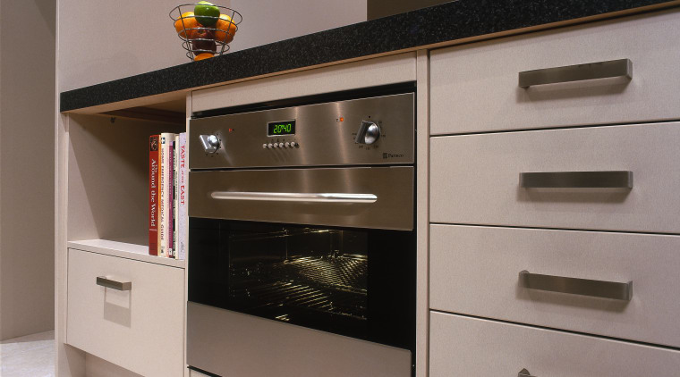 A vie wof a kitchen with various stainless cabinetry, countertop, furniture, home appliance, kitchen, kitchen appliance, kitchen stove, oven, gray