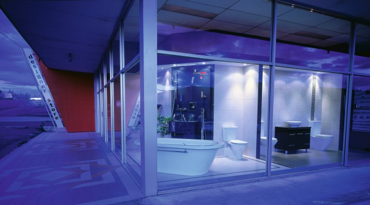 An exterior view of the showroom. architecture, blue, ceiling, glass, interior design, light, lighting, tourist attraction, blue