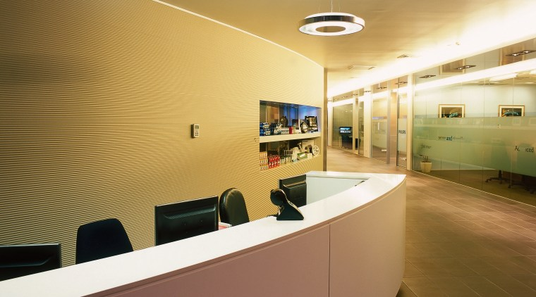 A view of the lighting design. ceiling, interior design, lobby, office, product design, brown
