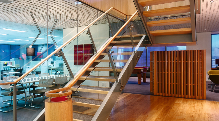 A view of the various interiors used within architecture, daylighting, floor, flooring, handrail, hardwood, interior design, loft, real estate, stairs, structure, wood, brown, orange