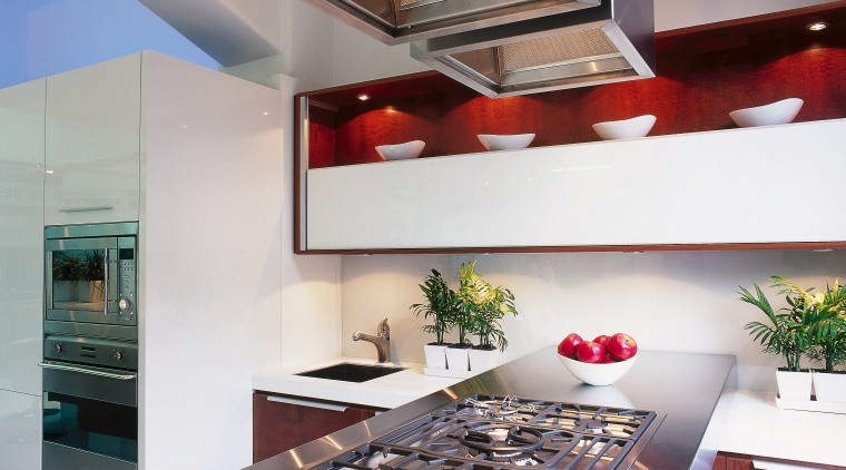 An example of the sleek appearance of a ceiling, countertop, interior design, kitchen, gray