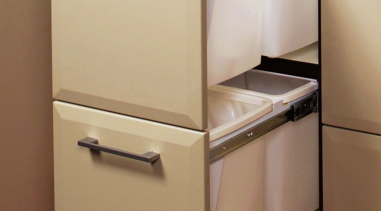Examples of a tidy way to store rubbish bathroom accessory, cabinetry, drawer, furniture, home appliance, kitchen, kitchen appliance, major appliance, product, product design, sink, brown