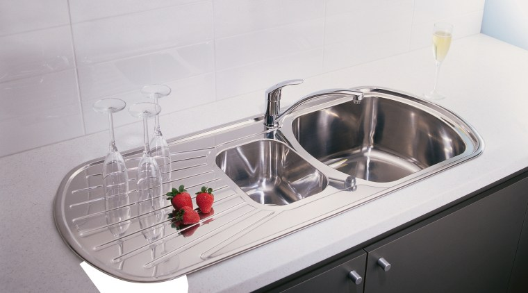 Closeup of kitchen sink with drainer and double bathroom sink, hardware, plumbing fixture, product design, sink, tap, white, gray