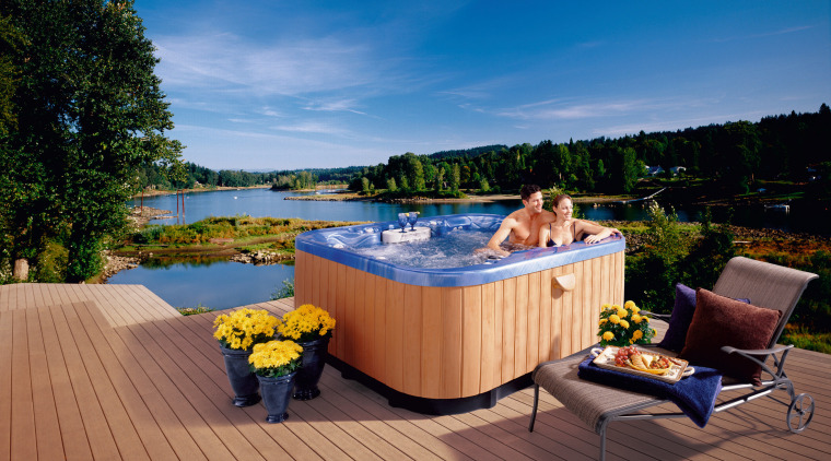 spa cabinets made from luctites timberstone surround  backyard, deck, home, hot tub, leisure, outdoor structure, property, real estate, resort, swimming pool