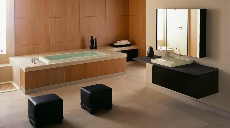 a coordinated bathroom suite from kohler can add floor, flooring, furniture, hardwood, interior design, laminate flooring, living room, product design, room, table, tile, wood, wood flooring, brown