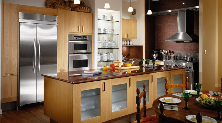 the ultima oven offers a variety of features cabinetry, countertop, cuisine classique, interior design, kitchen, room, brown