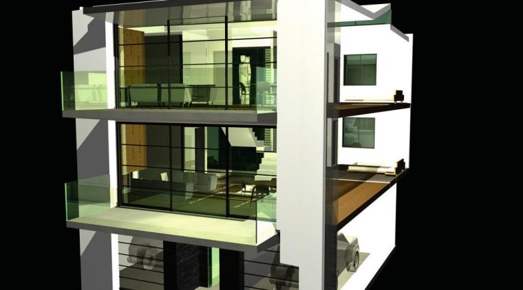 Cutaway diagram of three level apartment. architecture, building, condominium, elevation, facade, product design, shelf, shelving, black