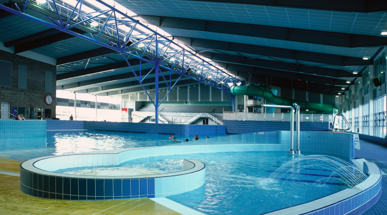 Large indoor pool complex with steel girders across leisure, leisure centre, resort town, sport venue, swimming pool, thermae, water, water park, teal
