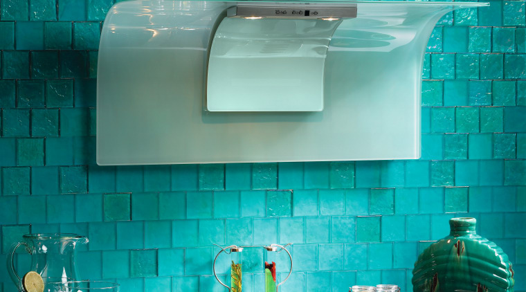 View of kitchen hood with curved glass hood, blue, countertop, glass, interior design, product design, tile, turquoise, teal