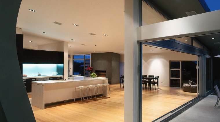 A view of the kitchen and dining area, architecture, ceiling, floor, flooring, house, interior design, black