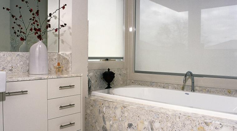 A view ofa bathroom with Swetha Marble & bathroom, floor, flooring, home, interior design, room, tile, wall, window, gray