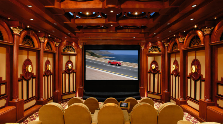 view of this home theatre with a 1930s auditorium, conference hall, function hall, interior design, theatre, red