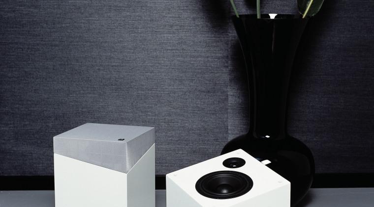 View of Qube floorstanding speaker. flowerpot, product, product design, still life photography, table, vase, gray, black