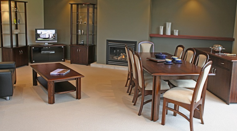 Open plan dining and lounge room with timber chair, floor, flooring, furniture, interior design, room, table, brown, gray