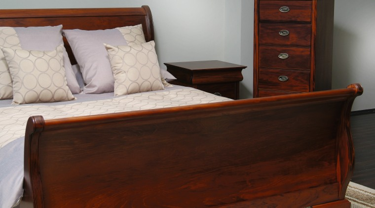 Kauri bedroom suite including bed, side tables and bed, bed frame, bed sheet, bedroom, chest of drawers, drawer, furniture, hardwood, mattress, nightstand, product, wood, wood stain, red, gray