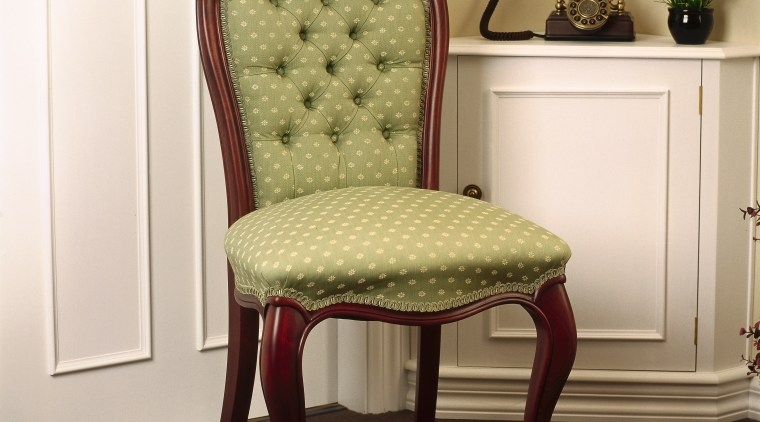 Victorian button-back green upholstered dining chair with curved chair, club chair, end table, floor, furniture, hardwood, product design, recliner, table, brown, white