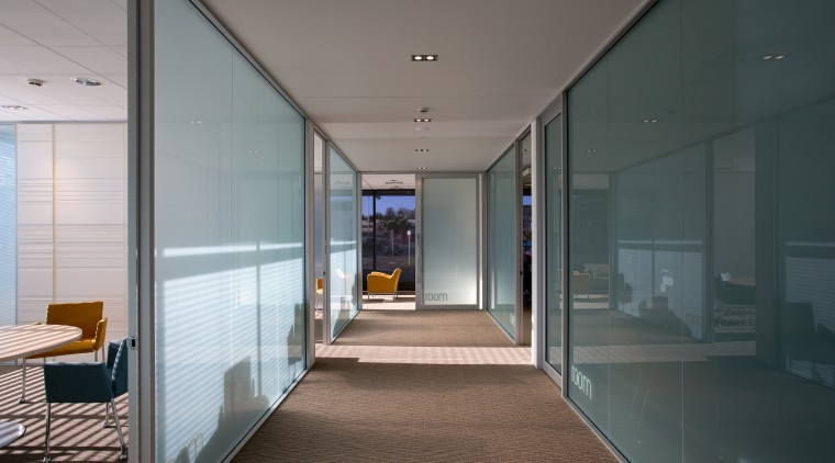A view of the offices, brown carpet, glass architecture, glass, house, interior design, window, gray, black