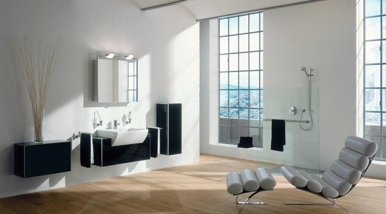 view of this bathroom featuring timber flooring, keuco's floor, flooring, furniture, interior design, living room, room, window, wood flooring, gray