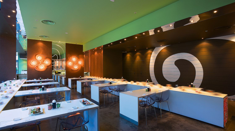 view of the interior of the sushi bar interior design, restaurant, table, black
