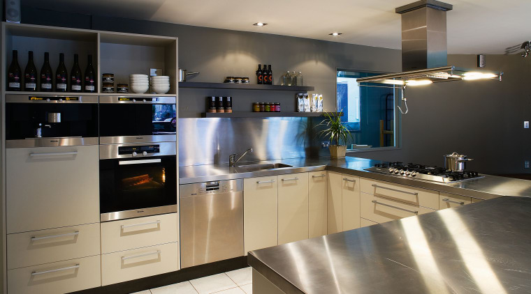 A view of a kitchen will stainless steel cabinetry, countertop, cuisine classique, interior design, kitchen, room, gray, black