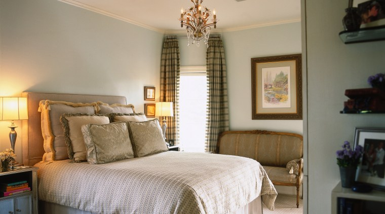 view of the master bedroom featuring custom designed bed frame, bedding, bedroom, ceiling, estate, home, interior design, property, real estate, room, wall, window, window treatment, gray