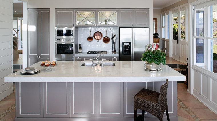 kitchen with large thick Carrara marble benchtop, and cabinetry, countertop, cuisine classique, floor, flooring, interior design, kitchen, room, gray