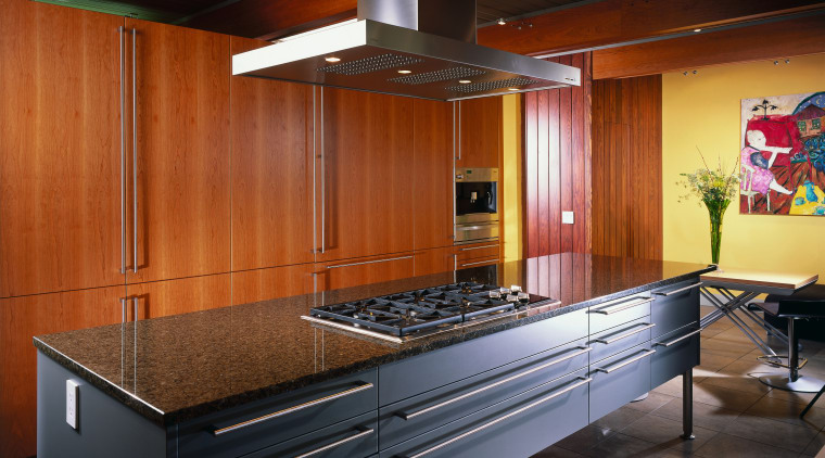 view of the new kitchen featuring cherry veneer cabinetry, ceiling, countertop, interior design, kitchen, brown, black