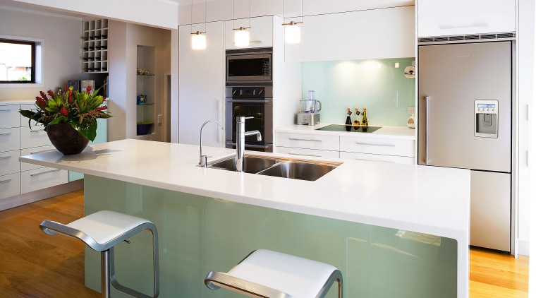 Kitchen with white Corian benchtop, bar stools and cabinetry, countertop, cuisine classique, interior design, kitchen, real estate, room, white