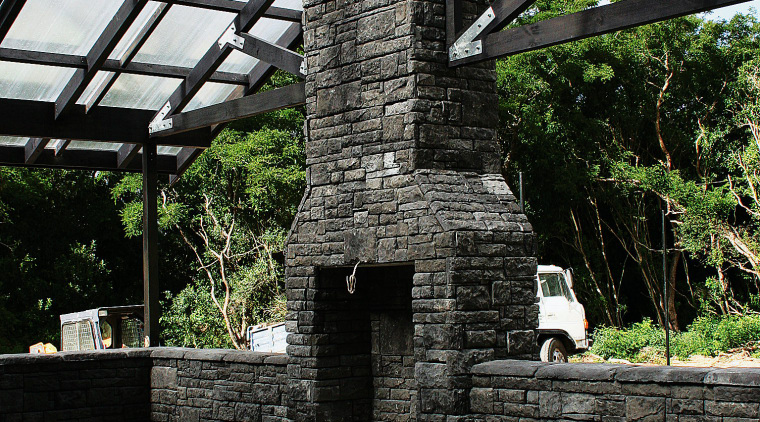 A view of some stone from Alpine Stone. outdoor structure, patio, walkway, black
