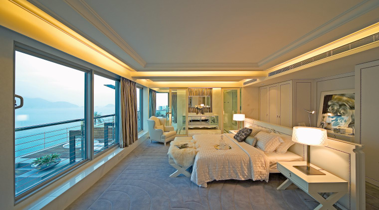 A view of the master bedroom, carpet, wooden bedroom, ceiling, estate, floor, home, interior design, penthouse apartment, property, real estate, room, suite, window, gray, brown