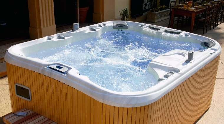 A view of a spa by Sundance Spas. bathtub, hot tub, jacuzzi, swimming pool, brown