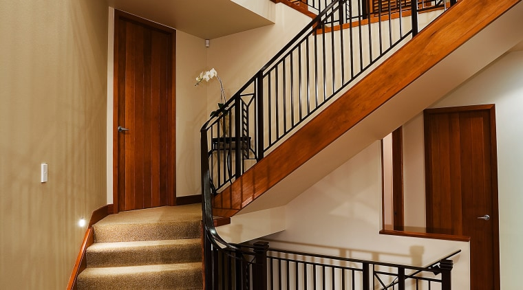 A view of a staircase from Knob's & architecture, baluster, ceiling, daylighting, estate, floor, flooring, handrail, hardwood, home, interior design, lobby, real estate, stairs, wood, wood flooring, brown