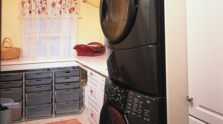 A view of a kitchen by Dream Kitchens clothes dryer, countertop, home appliance, kitchen, laundry, laundry room, major appliance, room, washing machine, white