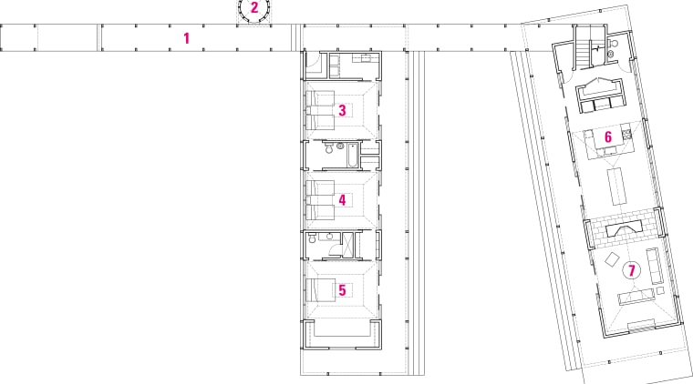 Floor/stie  plan of this vaction home angle, architecture, area, design, diagram, drawing, floor plan, line, plan, product, product design, structure, text, white