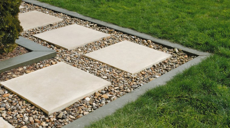 Garden with lawn, pavers set into pebbles and backyard, courtyard, flagstone, garden, grass, landscaping, lawn, path, plant, road surface, walkway, yard, brown