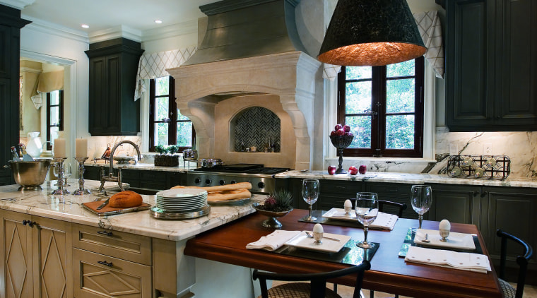 A view of a kitchen by Design Galleria countertop, cuisine classique, home, interior design, kitchen, room, black, gray