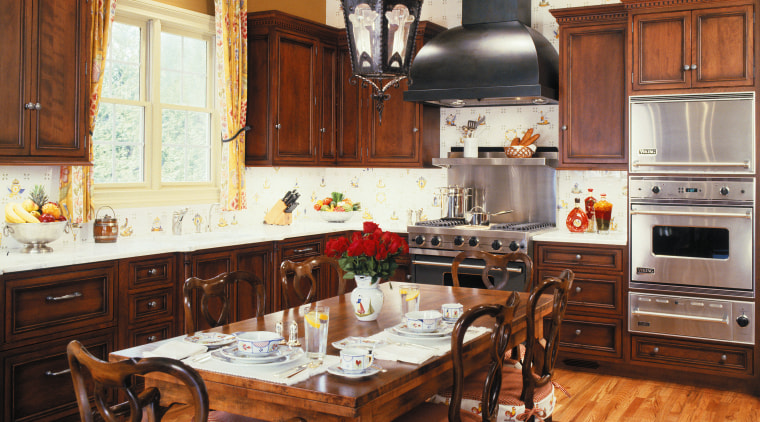 view of this kitchen designed by woodall design cabinetry, countertop, cuisine classique, dining room, hardwood, interior design, kitchen, room, brown