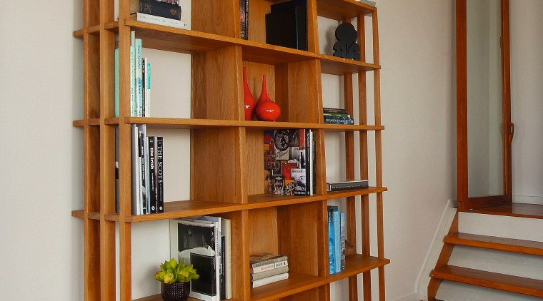 A view of some furniture from Glenn Buckley bookcase, cabinetry, furniture, hardwood, home, interior design, library, shelf, shelving, wood, brown, gray