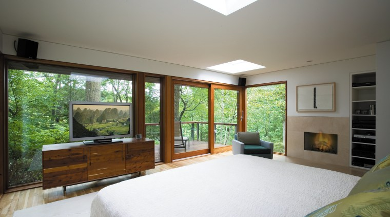 View of the master bedroom featuring, quartersawn whiteoak architecture, bedroom, ceiling, daylighting, estate, home, house, interior design, property, real estate, room, window, wood, gray