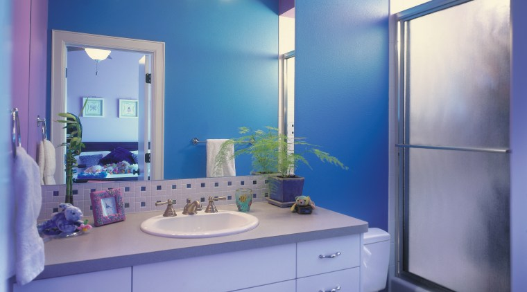 A view of a bathroom designed by CG&S bathroom, blue, ceiling, home, interior design, lighting, purple, room, blue