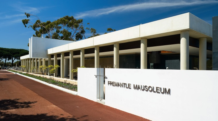 Exterior view of the freemantle Mausoleum featuring glass architecture, building, commercial building, corporate headquarters, facade, property, real estate, sky, white