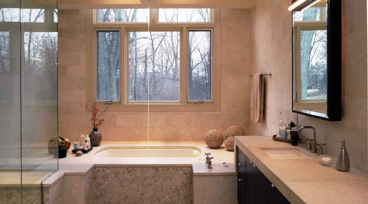 A view of the bathroom, tiled floor and bathroom, countertop, estate, home, interior design, real estate, room, window, brown